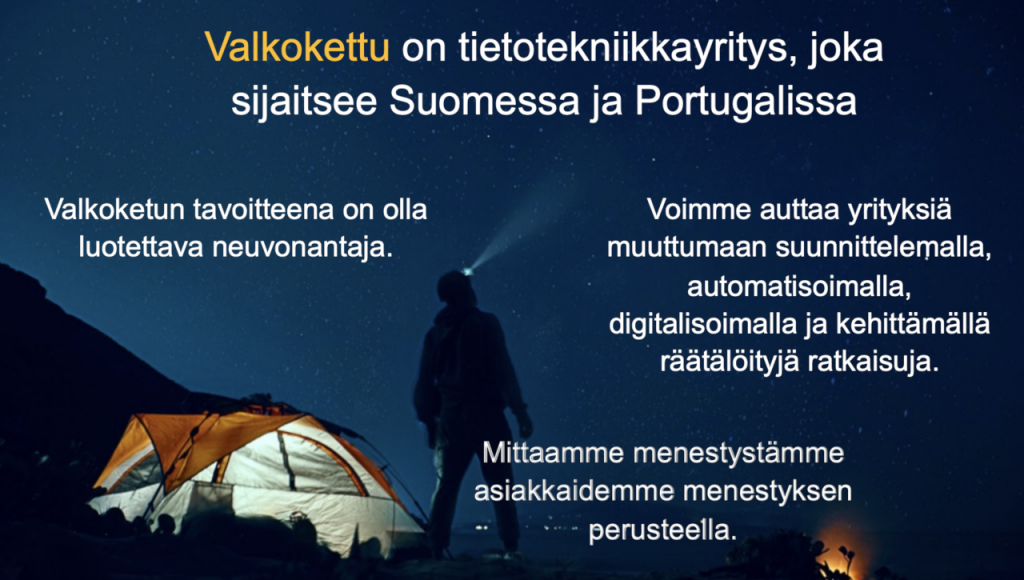 Valkokettu on tietotekniikkayritys, joka sijaitsee Suomessa ja Portugalissa. Valkoketun tavoitteena on olla luotettava neuvonantaja. Se auttaa yrityksiä muuttumaan suunnittelemalla, automatisoimalla, digitalisoimalla ja kehittämällä räätälöityjä ratkaisuja. Se mittaa menestystään asiakkaidensa menestyksen perusteella.