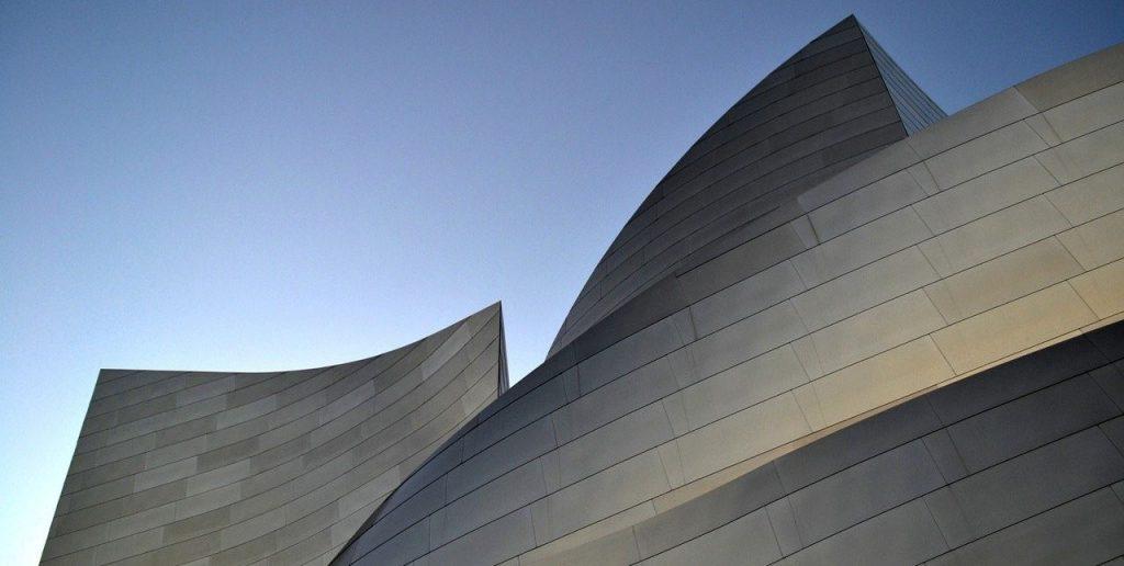 Outlines of futuristic concrete building