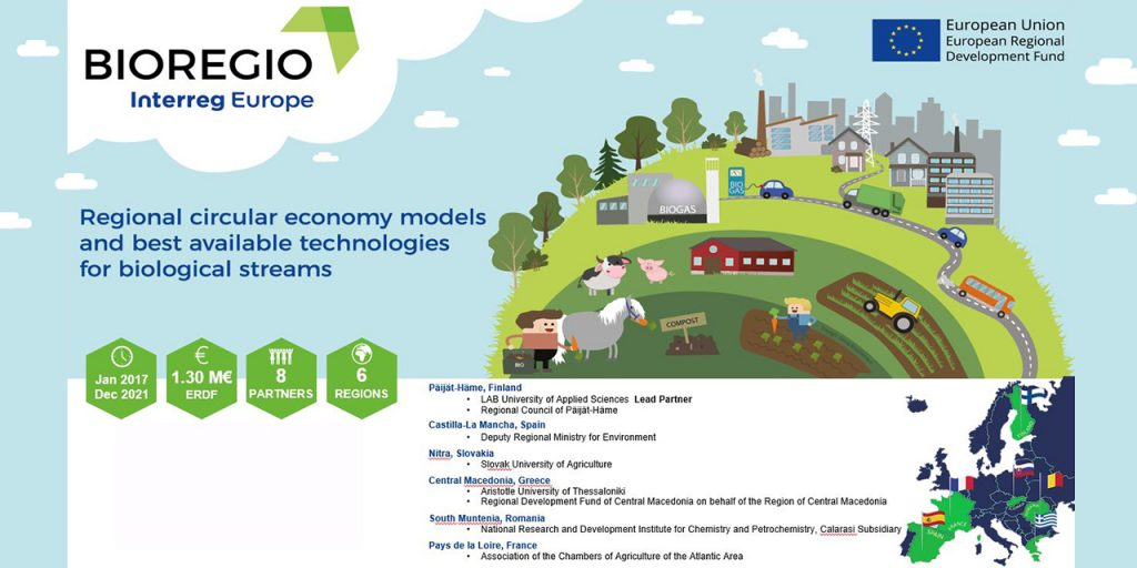 BIOREGIO general overview with a project master picture covering various bio-based circular economy processes and activities, a map of project partners, and main project indicators.