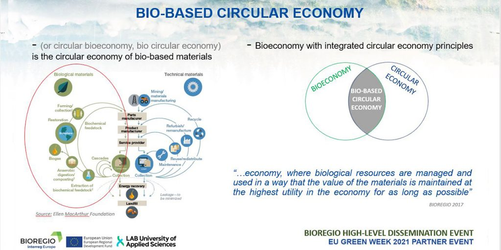 Different definitions of bio-based circular economy, on the left, the Butterfly diagram of Ellen MacArthur with biological and technical material flows, on the right graphical explanation of bio-based circular economy as an intersection of bioeconomy and cicrular economy