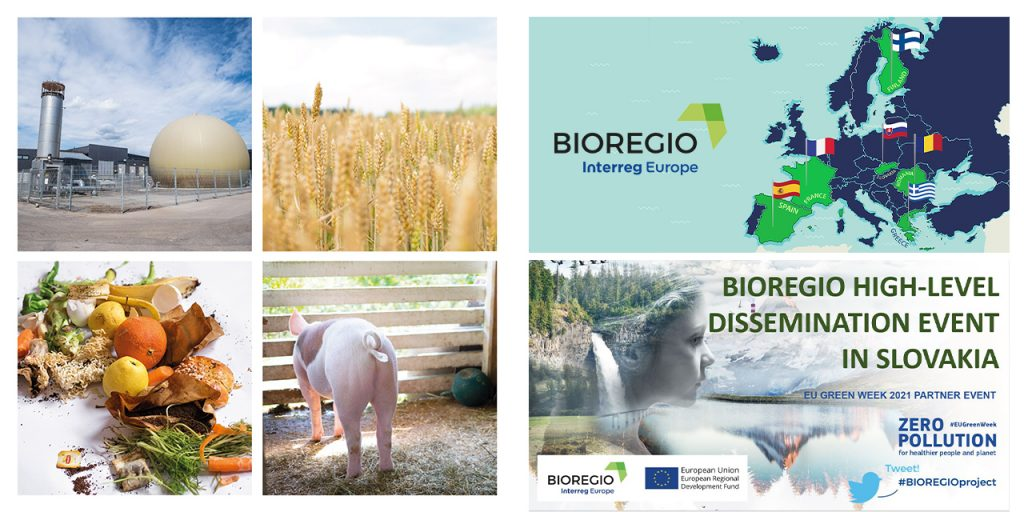 Mosaic of pictures related to bio-based circular economy – biogas production, field biowaste and animals, map of BIOREGIO partners, an official invitation picture to the BIOREGIO final dissemination event.