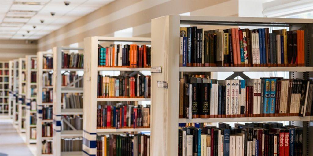 Kuvituskuvassa kirjastohyllyjä.