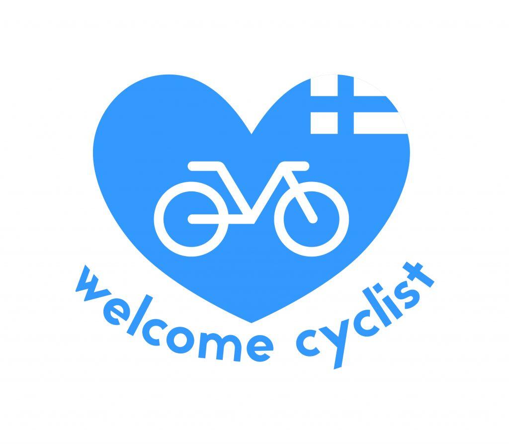 [Piirretty sininen sydän, jossa on Suomen lippu ja pyörän kuva. Sydämen alla on teksti welcome cyclist.]