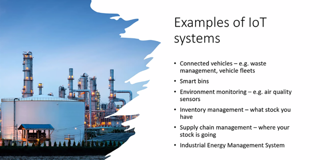 [ALT TEXT Kuvakaappaus Annika Wolffin englanninkielisestä esityksestä. Examples of IoT systems. 1. Connected vehicles 2. Smart bins 3. Environment monitoring 4. Inventory management 5. Suply chain management 6. Industrial energy management system]