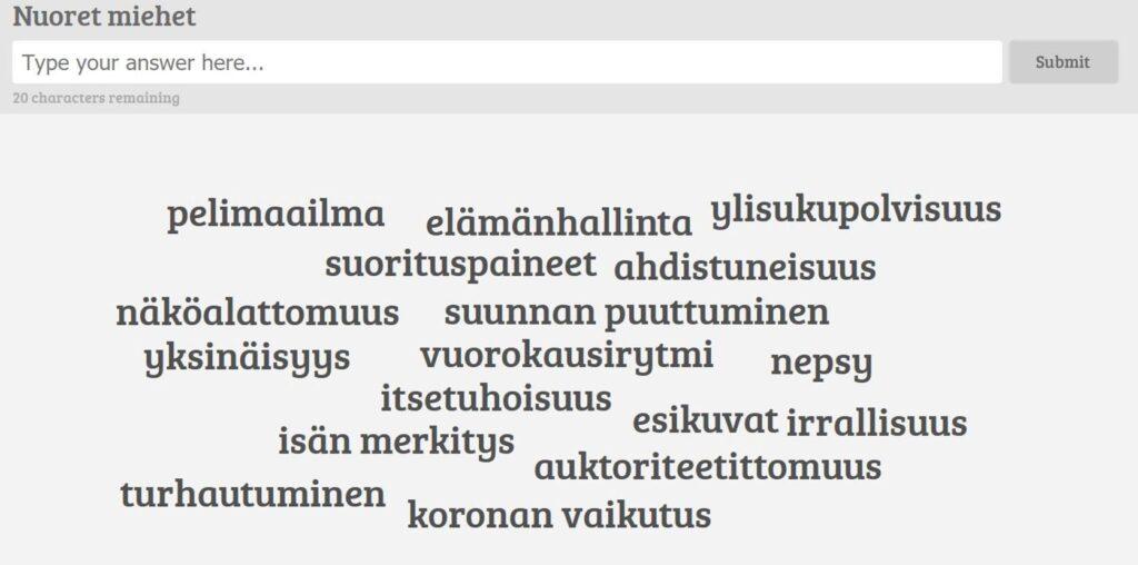 [Alt-teksti: Ilmiökeskustelussa vuorovaikutteisesti osallistujilta kerätty sanapilvi, jossa mukana esimerkiksi elämänhallinta, ylisukupolvisuus, suunnan puuttuminen, irrallisuus, näköalattomuus ja suorituspaineet.]